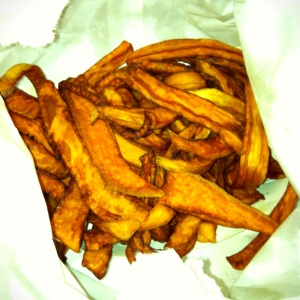 Bag full of Sweet Potato Fries.