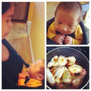 Babywearing dinner prepping style