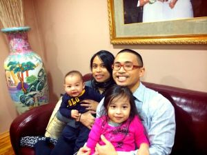 My brother and I with the kids.